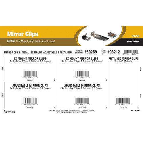 Metal Mirror Clips Assortment (EZ Mount, Adjustable & Felt-Lined)