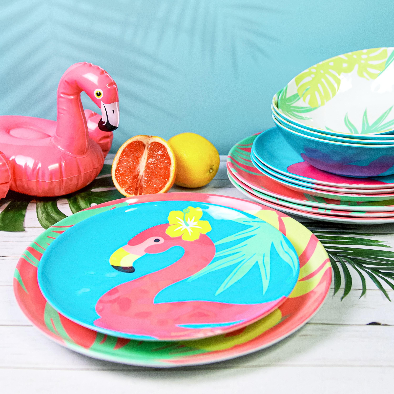 Summer Prints Dinnerware Set, Flamingo, 12-piece set slideshow image 4