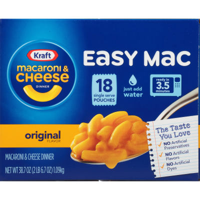 Kraft Easy Mac Original Macaroni & Cheese Dinner, 18 Packets, 38.7 oz Box