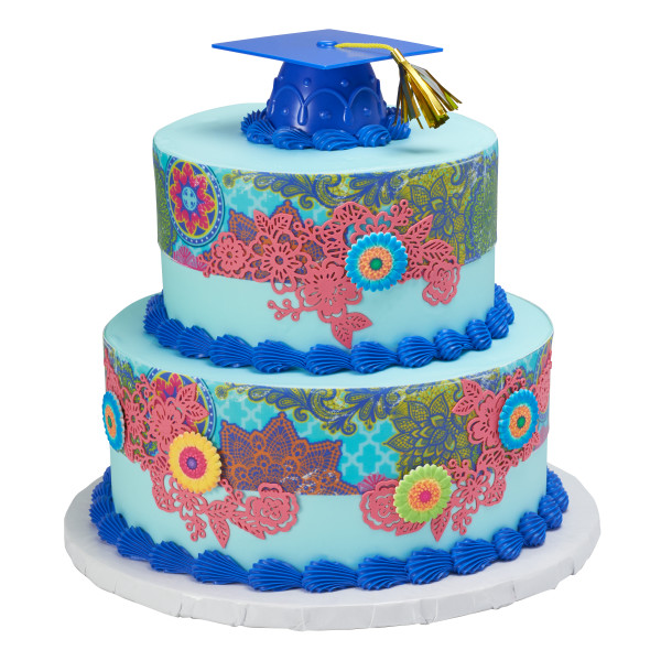 Blue Grad Cap with Tassels Layon