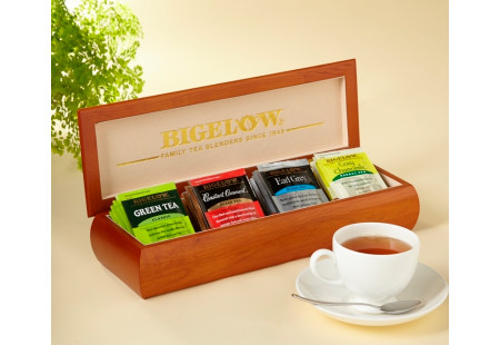 Engraved Tea Chest with Four Flavors - total of 32 teabags
