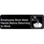 Employees Must Wash Hands Adhesive Sign (Black Plastic)