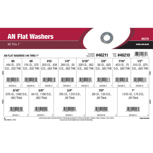 AN Flat Washers Assortment (#6 thru 1