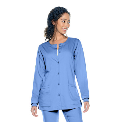 Urbane Ultimate Button Down 3 Pocket Scrub Jacket for Women: Modern Tailored Fit, Luxe Soft Stretch Fabric, Medical Scrubs 9871-