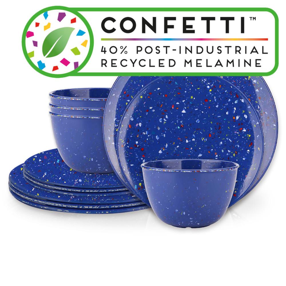 Confetti Dinnerware Set, Blue, 12-piece set image