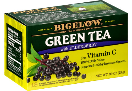 Green Tea with Elderberry plus Vitamin C - Case of 6 boxes - total of 108 teabags