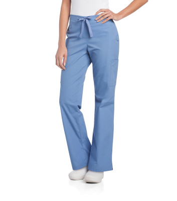 Landau Essentials Cargo Scrub Pants for Women: Modern Fit, 4 Pockets, Flat Front/ Elastic Back, Flare Leg 2028-