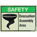 "Aluminum Glow In The Dark Evacuation Safety Sign 10"" x 14"""