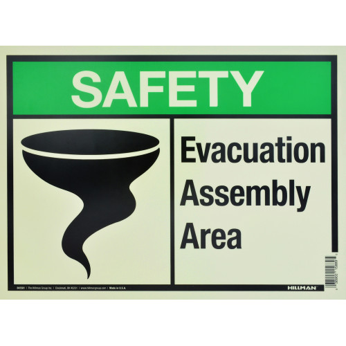 Aluminum Glow in the Dark Evacuation Safety Sign, 10