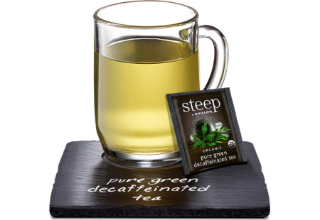 Cup of steep by bigelow organic pure green decafffeinated  tea
