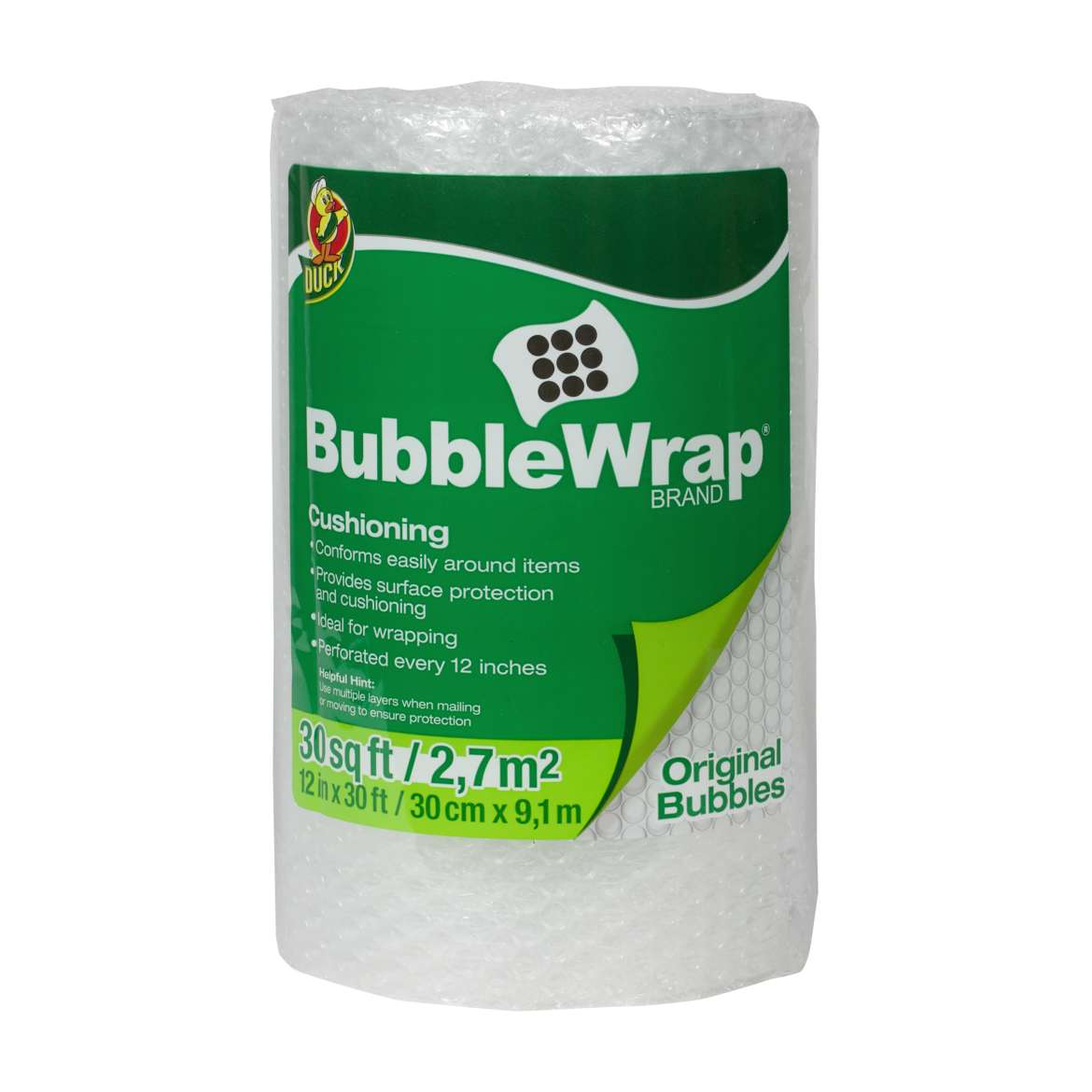 Duck® Brand Original Bubble Wrap® Cushioning - Clear, 12 in. x 30 ft. Image