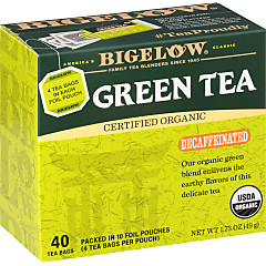 Organic Green Tea Decaf 40 Count - Case of 6 boxes- total of 240 teabags