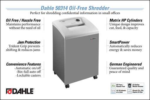 Dahle 50314 Oil Free Small Office Shredder InfoGraphic