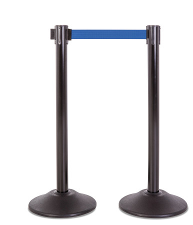Premium Steel Stanchion - Black with Blue belt 1