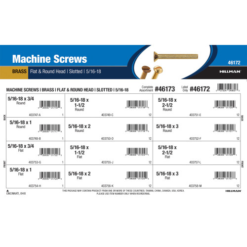 Slotted Flat & Round-Head Brass Machine Screws Assortment (5/16