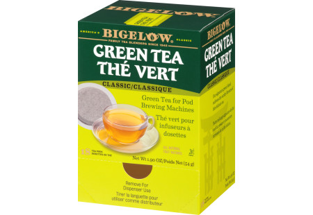 Right facing of Green Tea for Pod Brewing Machines box