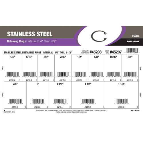 Stainless Steel Internal Retaining Rings Assortment (1/4