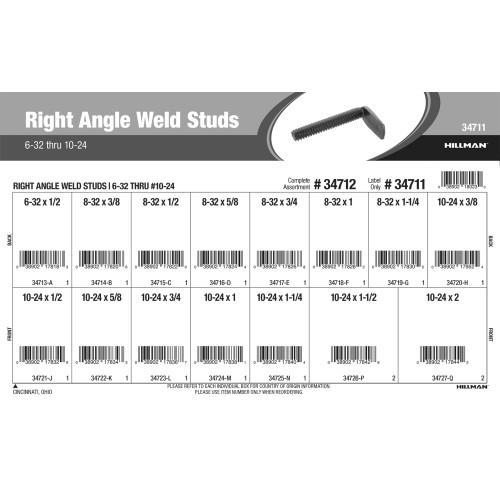 Right Angle Weld Studs Assortment (#6-32 thru #10-24)
