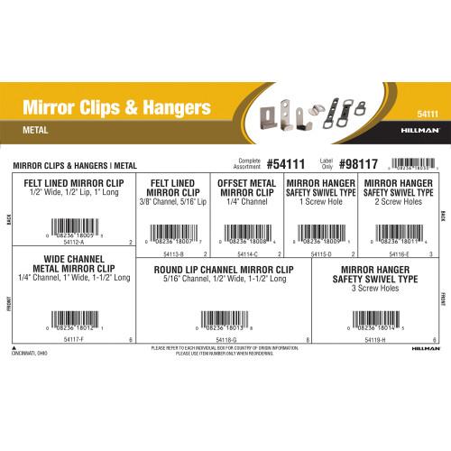 Metal Mirror Clips & Hangars Assortment