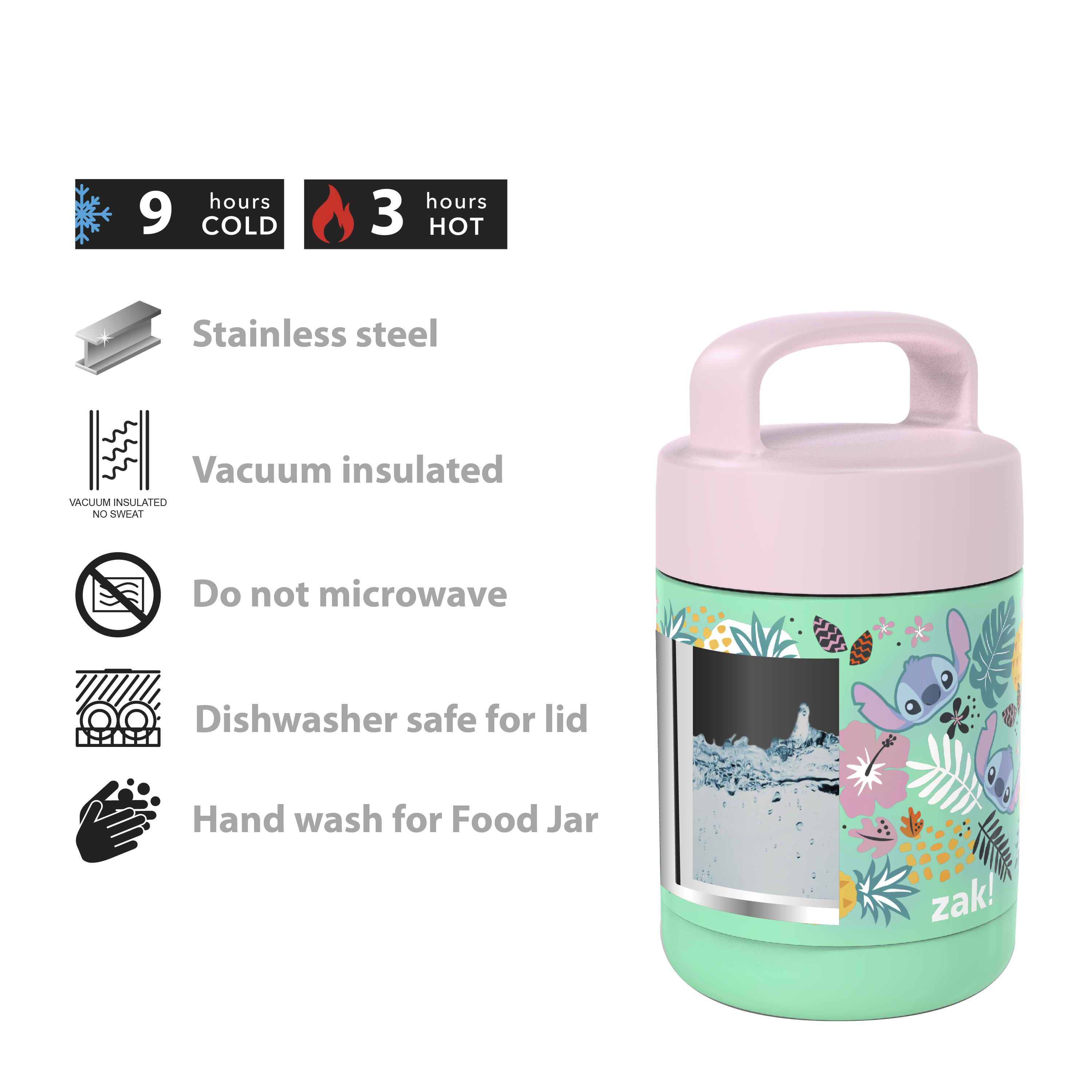 Disney Reusable Vacuum Insulated Stainless Steel Food Container, Lilo & Stitch slideshow image 6