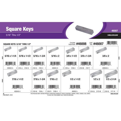 Square Keys Assortment (5/16