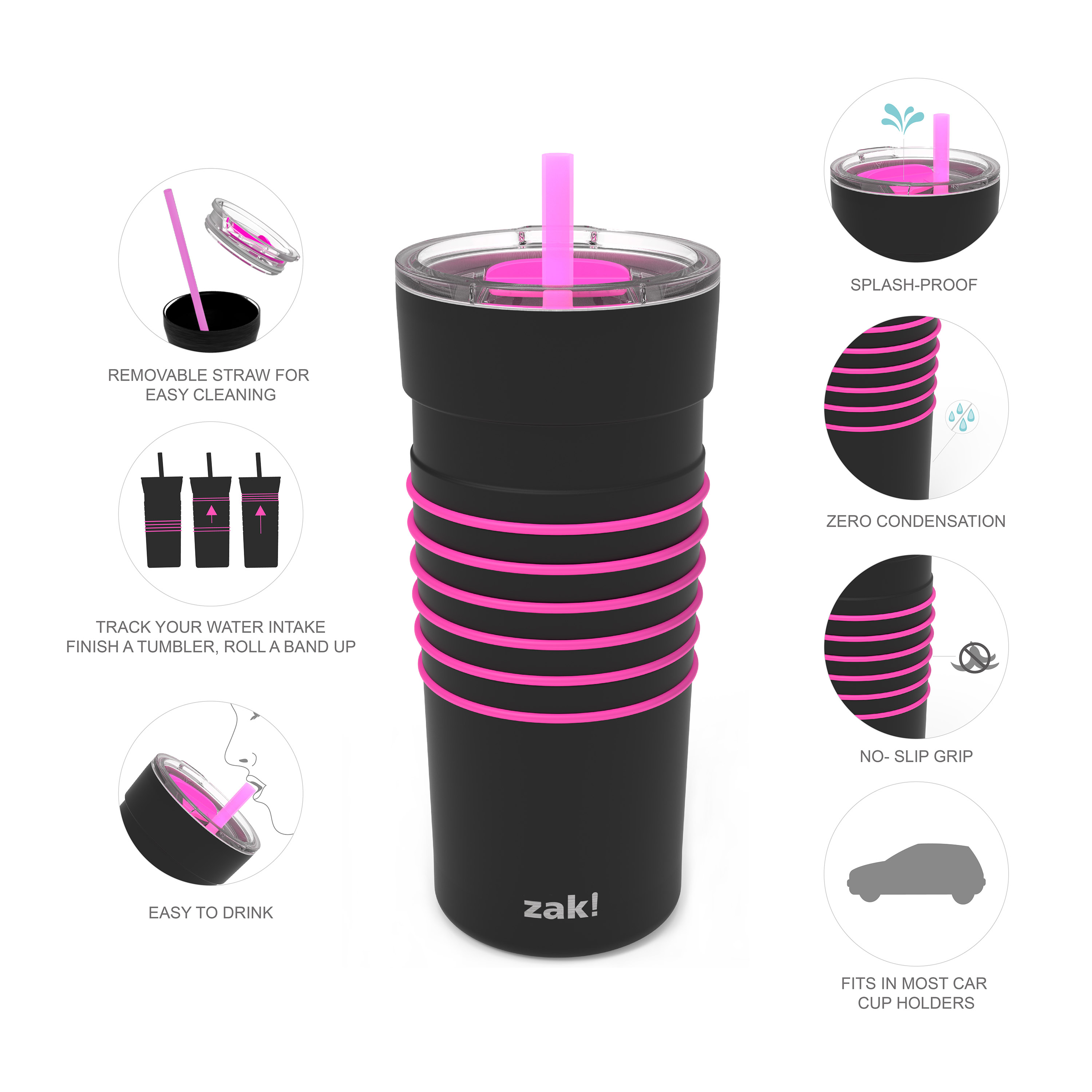 HydraTrak 20 ounce Vacuum Insulated Stainless Steel Tumbler, Black with Pink Rings slideshow image 3