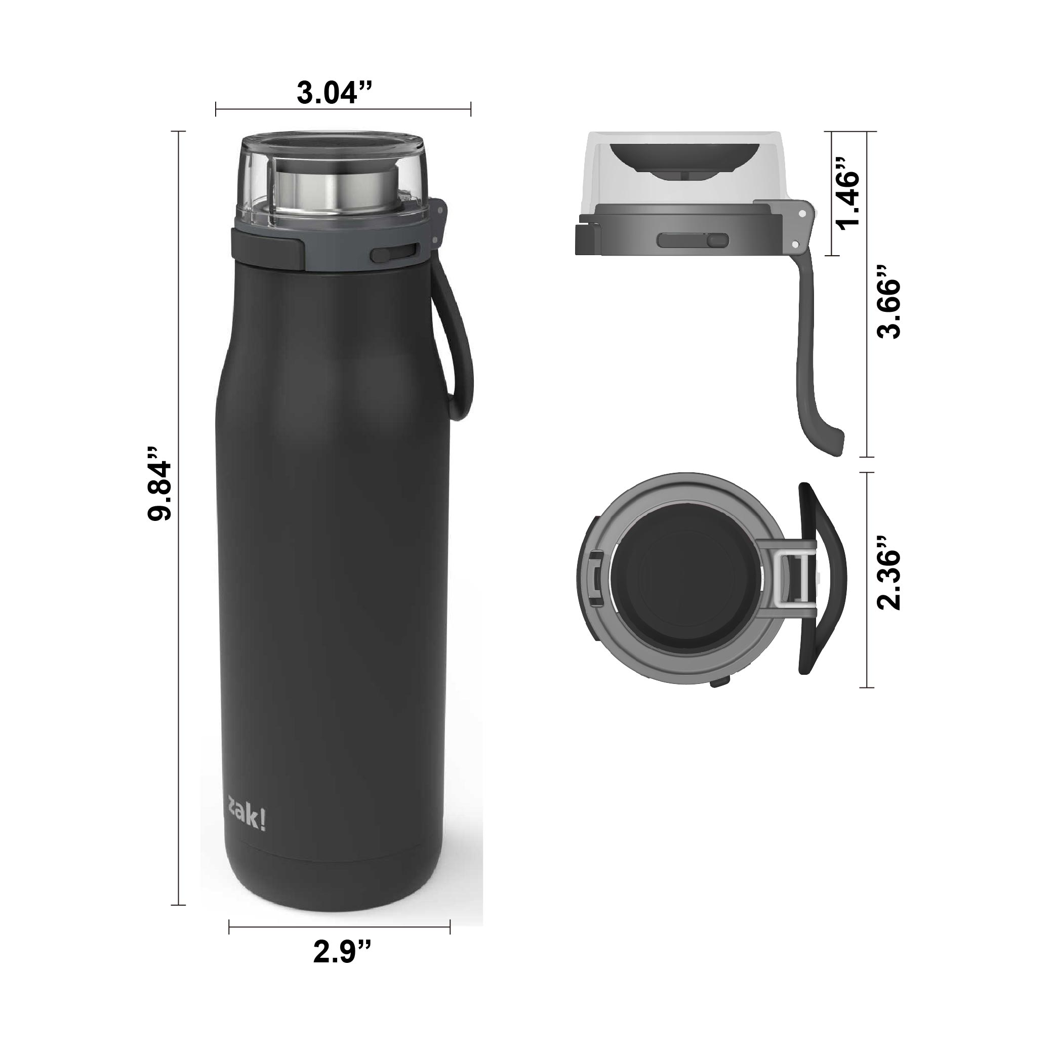 Kiona 20 ounce Vacuum Insulated Stainless Steel Tumbler, Charcoal slideshow image 8