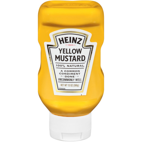 HEINZ Yellow Mustard Inverted Bottle, 13 oz. Bottles (Pack of 16)