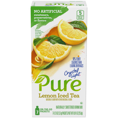 Crystal Light On-the-Go Pure Lemon Iced Tea Drink Mix 7 - 0.13 oz Packets