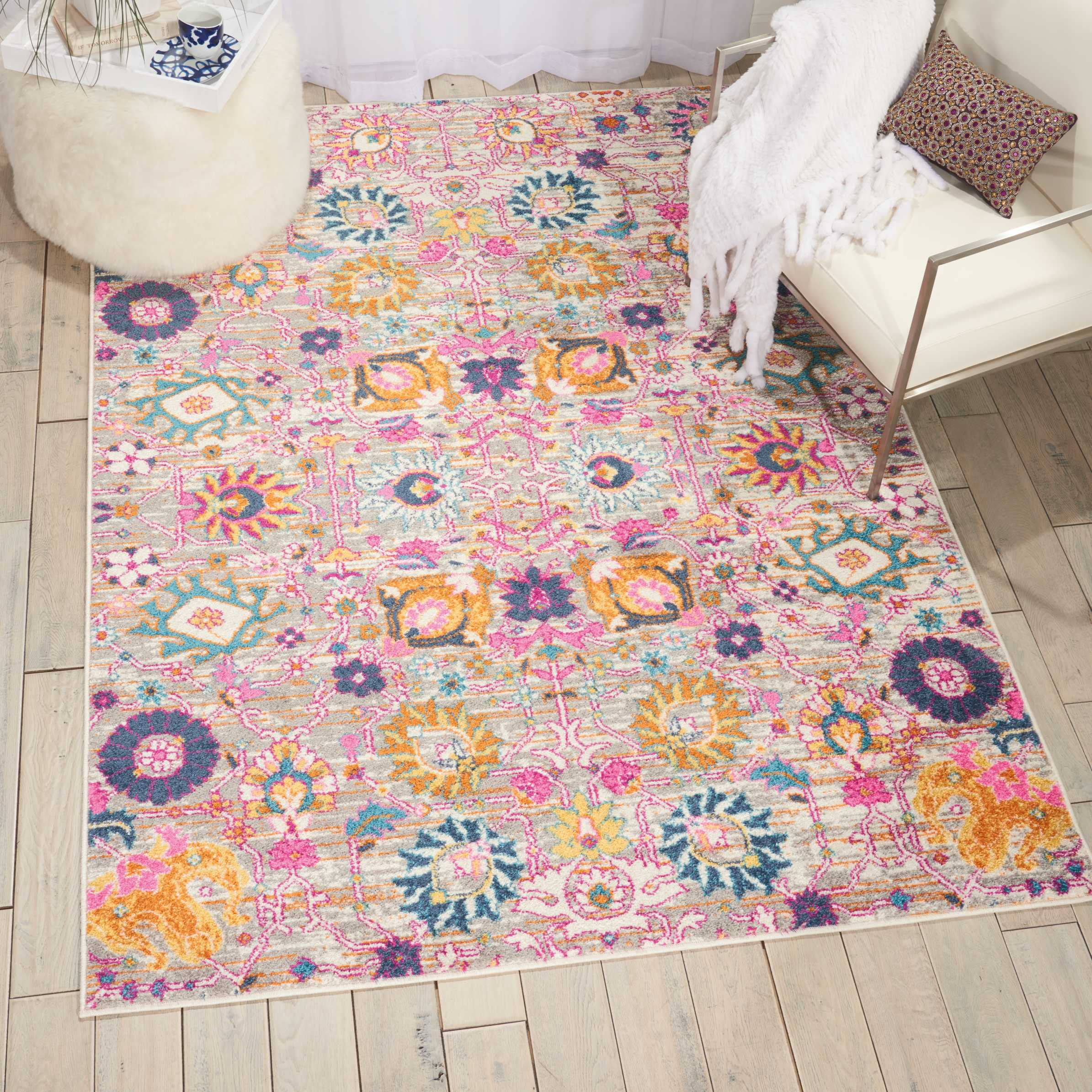 Nourison Passion Psn01 Pink And Grey 4'X6' Boho Area Rug