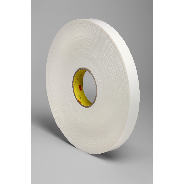 3M™ Double Coated Polyethylene Foam Tape 4466, White, 1 in x 36 yd, 62 mil, 9 rolls per case