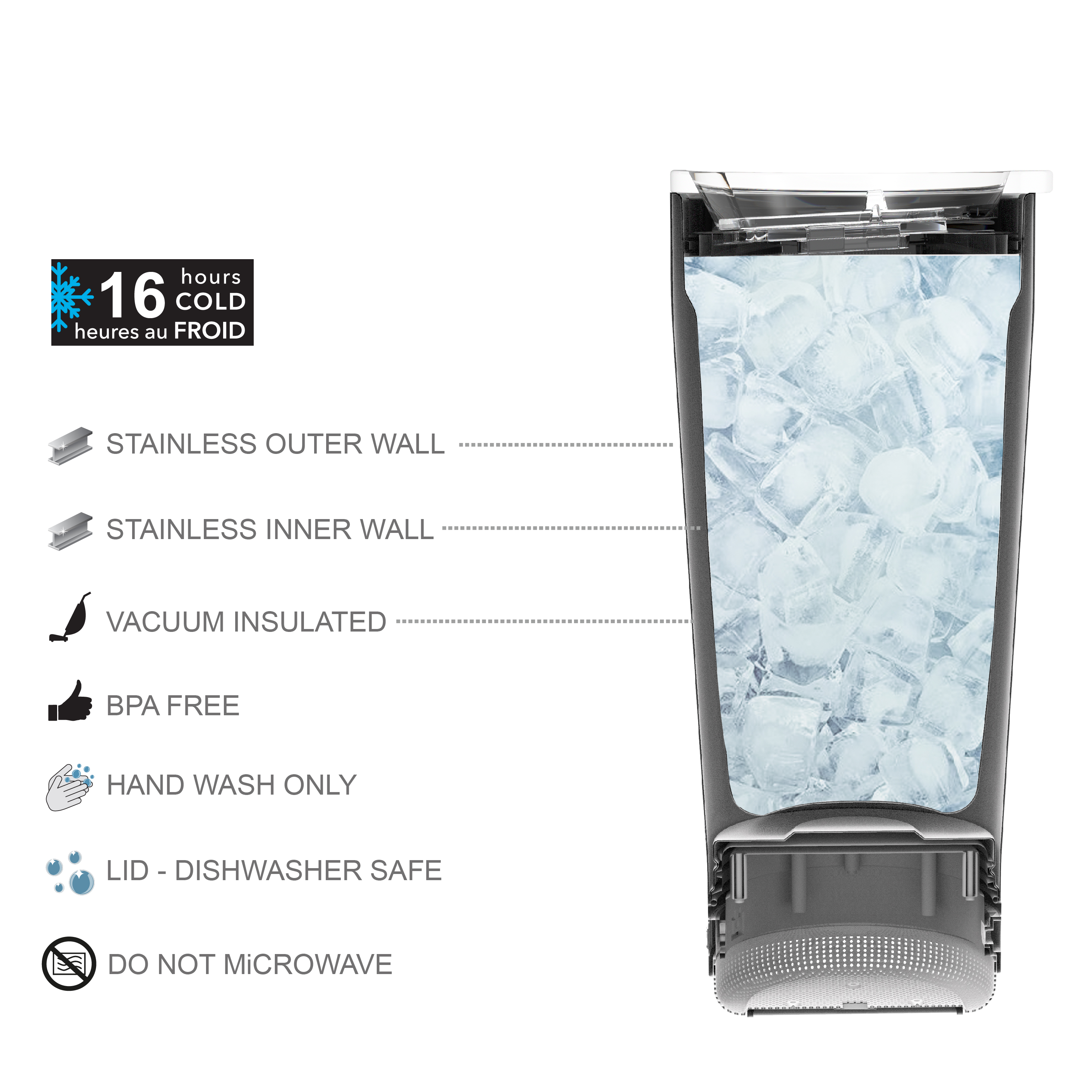 Zak Play 18 ounce Stainless Steel Tumbler with Bluetooth Speaker, Teal slideshow image 3