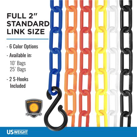 "Yellow 2"" Plastic Chain Ft. SunShield - 10' Bag 6"