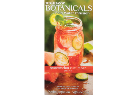 Side panel of Bigelow Botanicals Watermelon Cucumber Melon Mint Cold Water Infusion Box