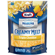 Kraft Shredded Triple Cheddar Cheese Blend with a Touch of Philadelphia 8 oz Pouch