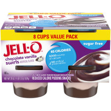 Jell-O Ready to Eat Sugar Free Chocolate Vanilla Swirl Pudding Snack, 29 oz Sleeve (8 Cups)