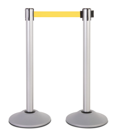 Premium Steel Stanchion - Silver with yellow belt 1