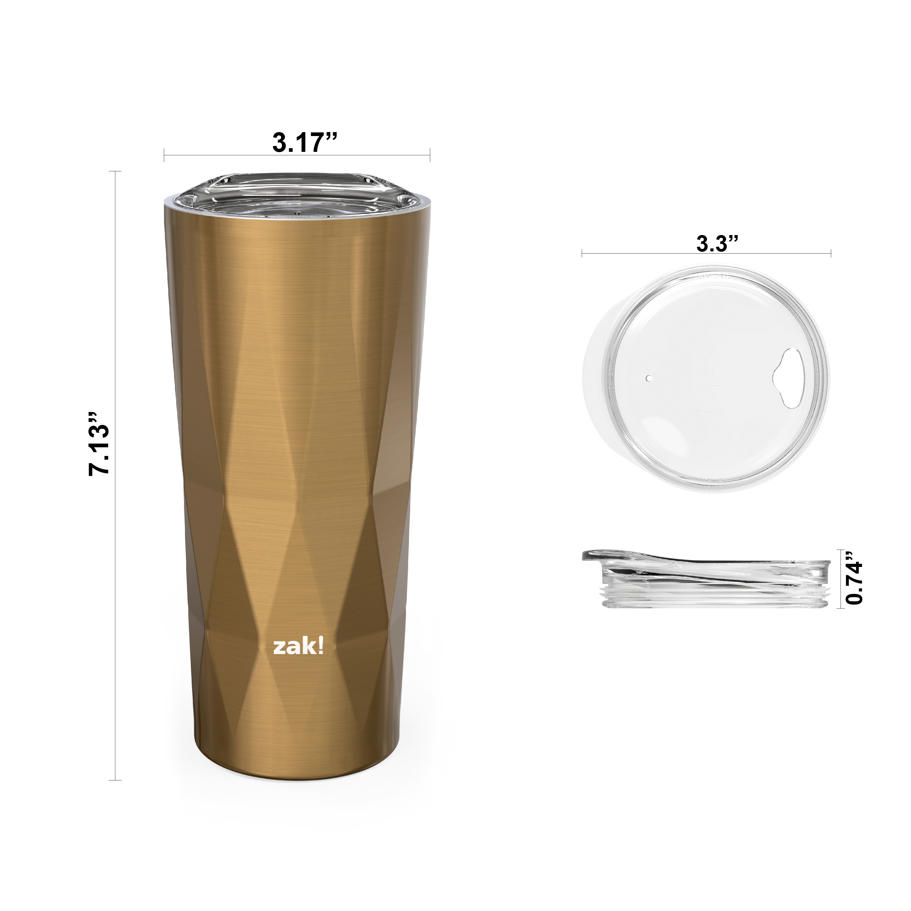 Fractal 16 ounce Vacuum Insulated Stainless Steel Tumbler, Copper slideshow image 5