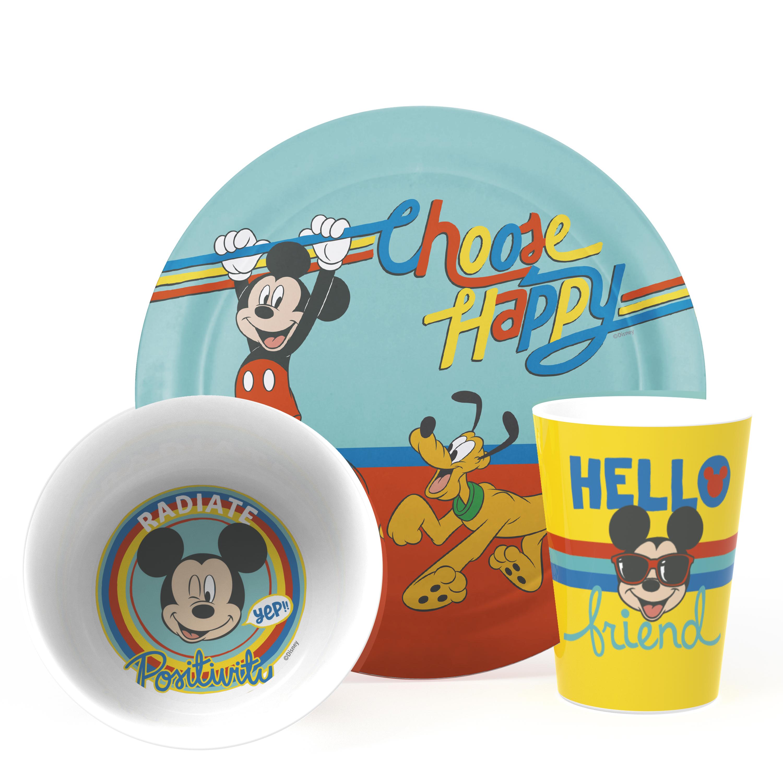 Disney Kids Dinnerware Sets, Rainbow Mickey Mouse, 3-piece set slideshow image 1