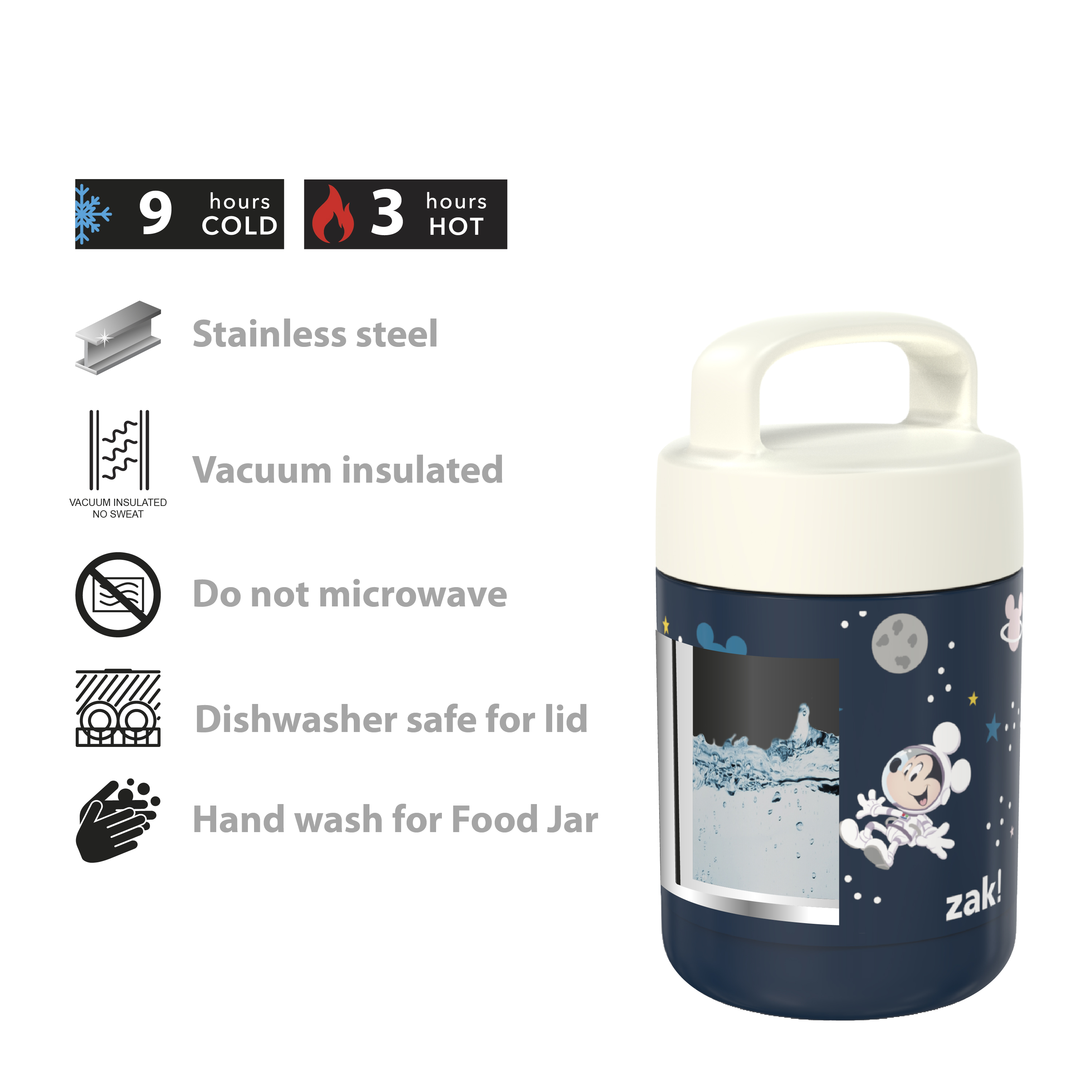 Disney Reusable Vacuum Insulated Stainless Steel Food Container, Mickey Mouse slideshow image 5