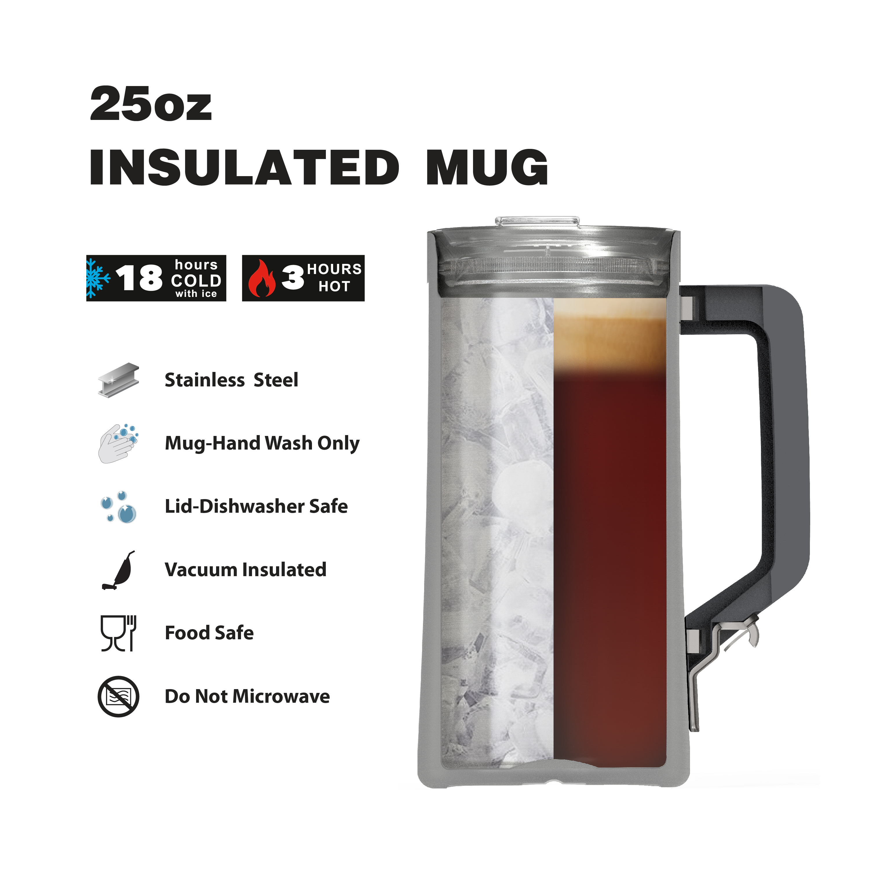 Creston 25 ounce Stainless Steel Vacuum Insulated Beer Stein, Rose Gold slideshow image 5