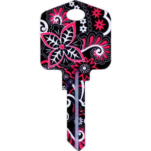 Pampered Girls Psychedelic Floral Key Blank Kwikset 66/97 KW1/10