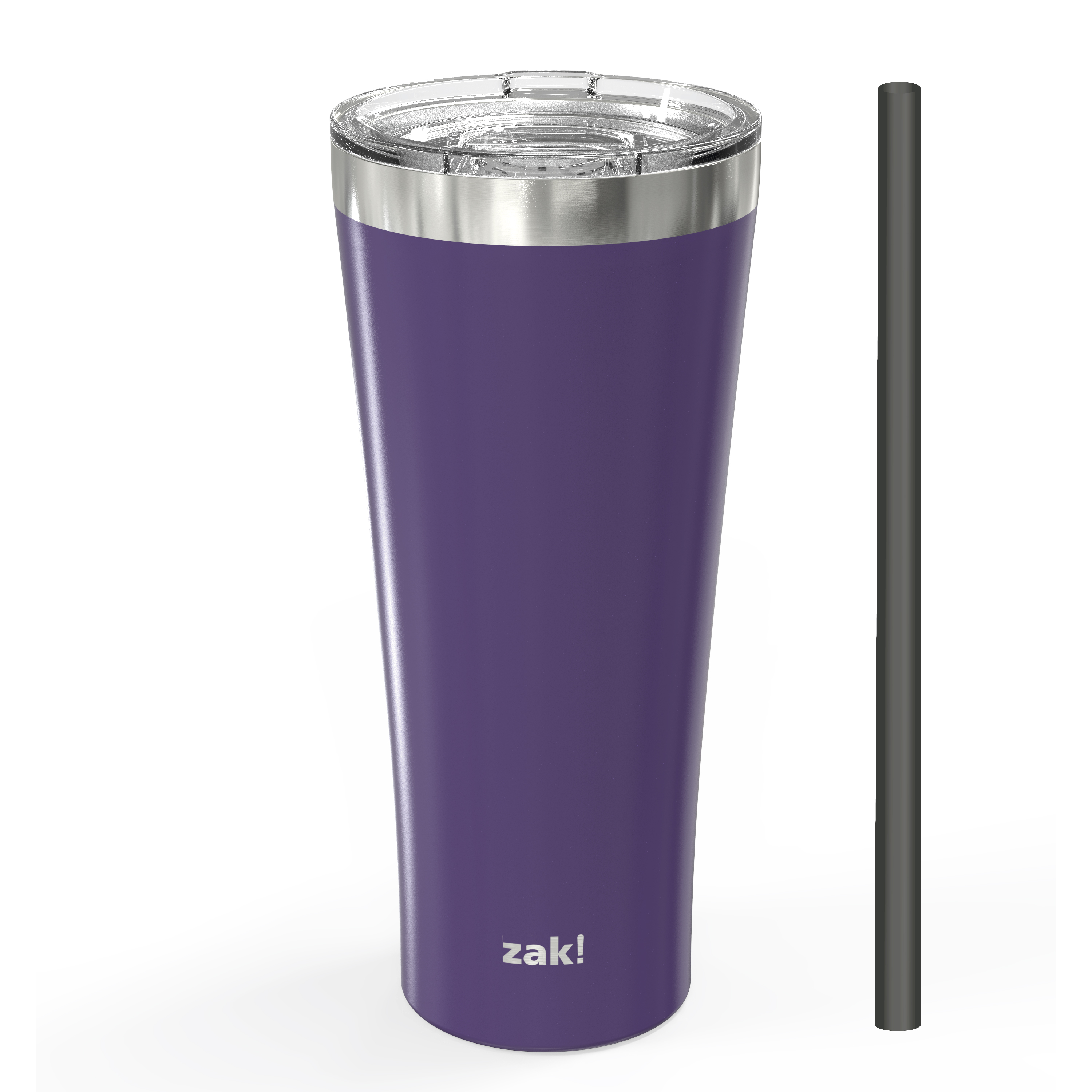 Alpine 30 ounce Stainless Steel Vacuum Insulated Tumbler with Straw, Viola slideshow image 1