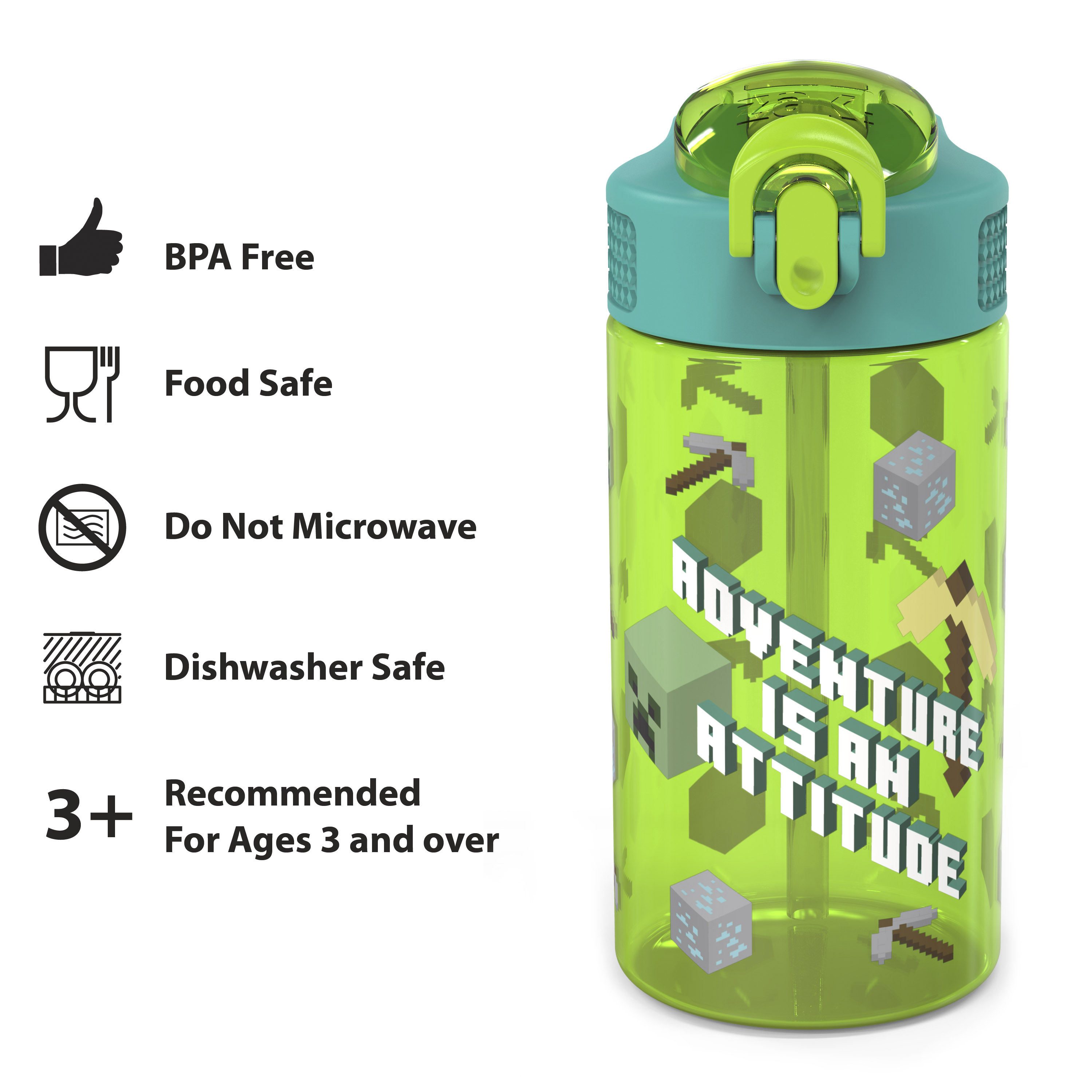 Minecraft 16 ounce Reusable Plastic Water Bottle with Straw, Creeper, 2-piece set slideshow image 5