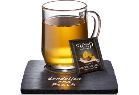 Cup of steep by bigelow organic dandelion and peach rooibos and green tea