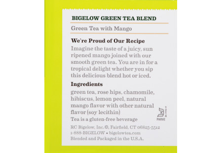 Ingredient panel of Green Tea with Mango tea box