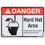 "Aluminum Hard Hat Area Danger Sign 10"" x 14"""