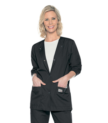 Landau ScrubZone 3 Pocket Scrub Jacket for Women: Classic Relaxed Fit, Knit Cuffs, Durable Medical Scrubs 70227-