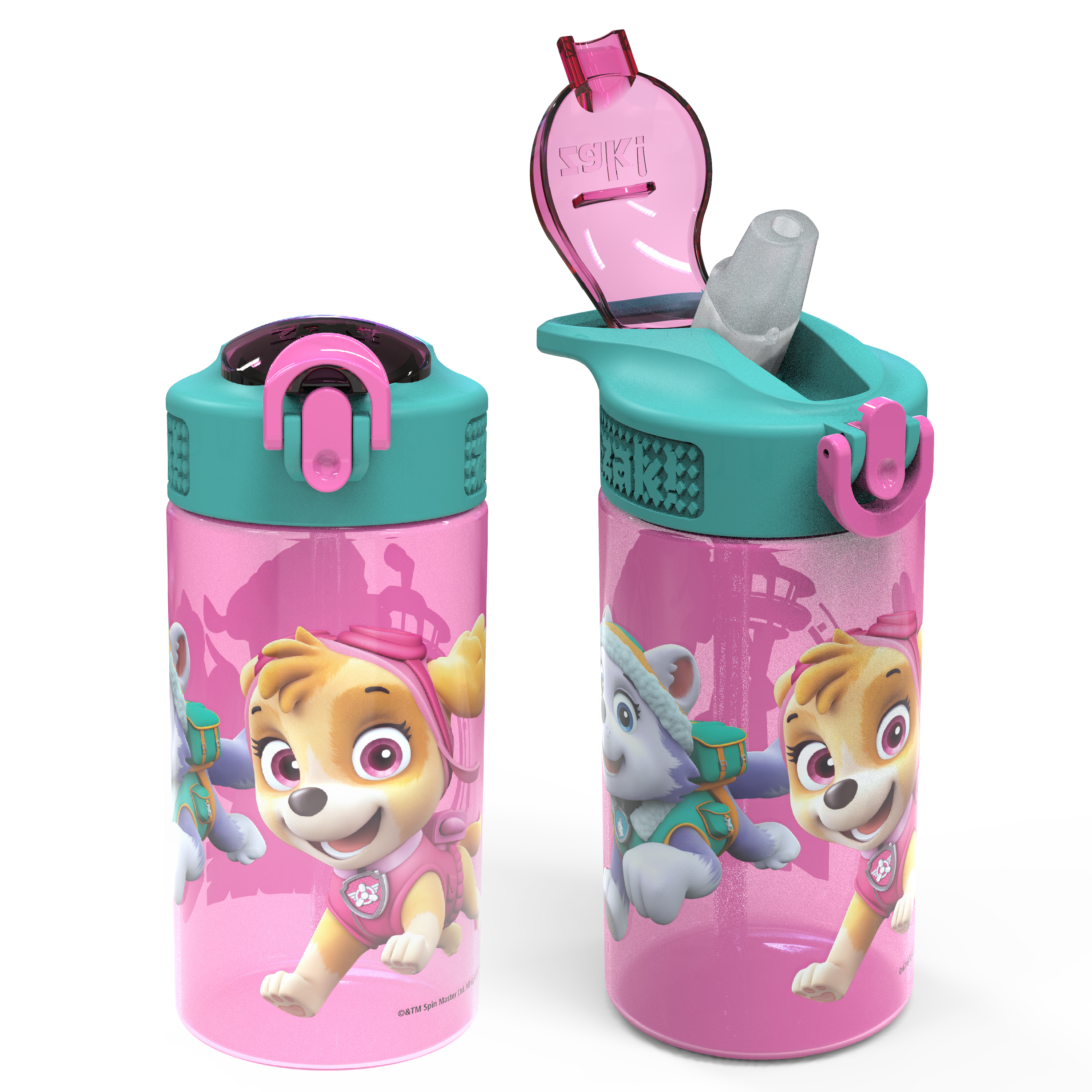 Paw Patrol 16 ounce Reusable Plastic Water Bottle with Straw, Skye, 2-piece set slideshow image 1