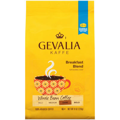 Gevalia Breakfast Blend Regular Whole Beans Coffee 8 oz Bag